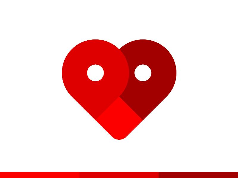 Map pin pointers heart logo design symbol by Alex Tass