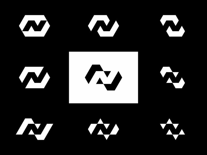 N in Negative Space, logo design explorations
