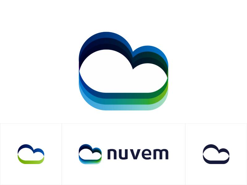 Nuvem, cloud, birds, fields, logo design for software developer by Alex Tass