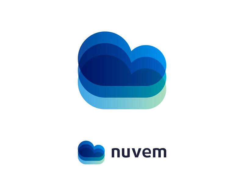 Nuvem cloud web mobile apps software developer logo design by Alex Tass