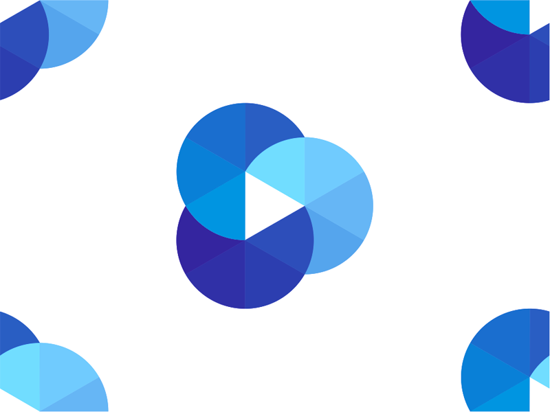 Play icon + cloud + film reel, logo design symbol by Alex Tass