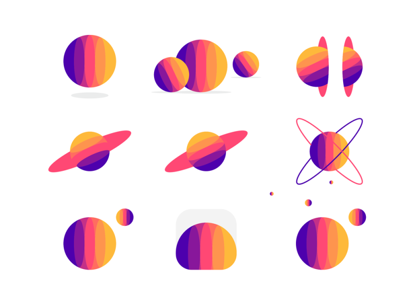 Social network logo design, M, planets, space ecosystem by Alex Tass