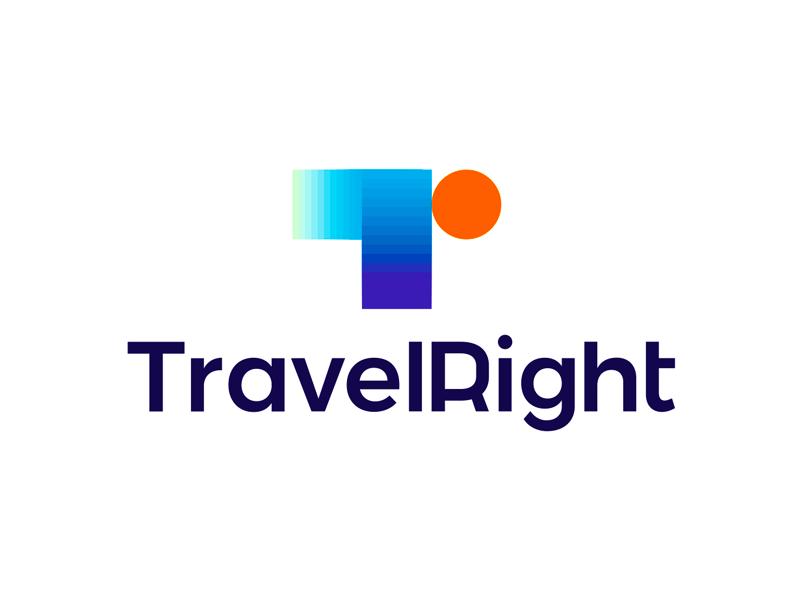 Travel right travel agency insurance arrow airplane sun logo design by Alex Tass