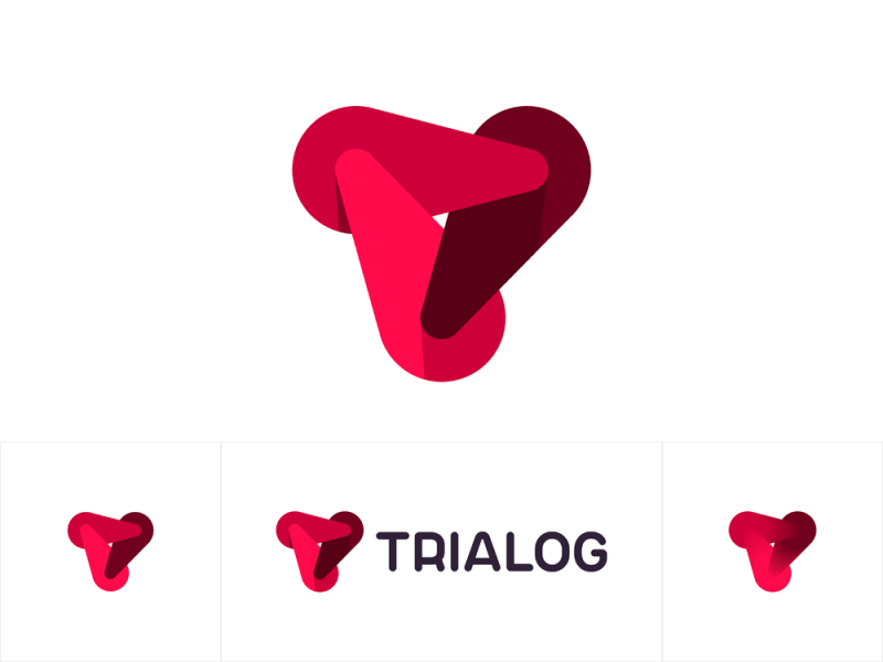 Trialog logo 3 dynamic forces forming T letter design by Alex Tass