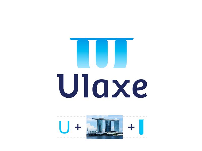 Ulaxe perfumes marina bay sands singapore u letter logo design by Alex Tass